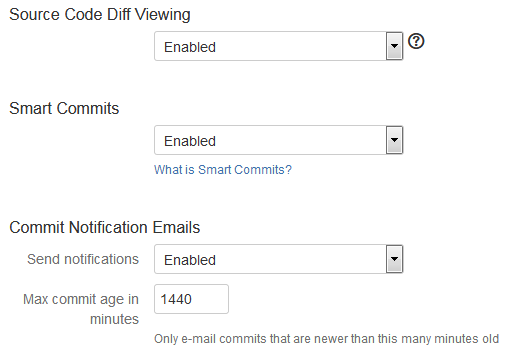 Advanced setup - Source Code Diff Viewing, Smart Commits and Email Notifications