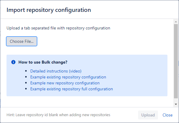 Bulk change import repository config