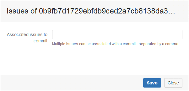 change commit issues dialog showing blank entry