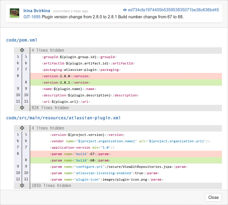 View commit code diffs