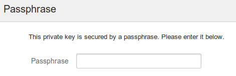 Connect to Git wizard authentication screen passphrase