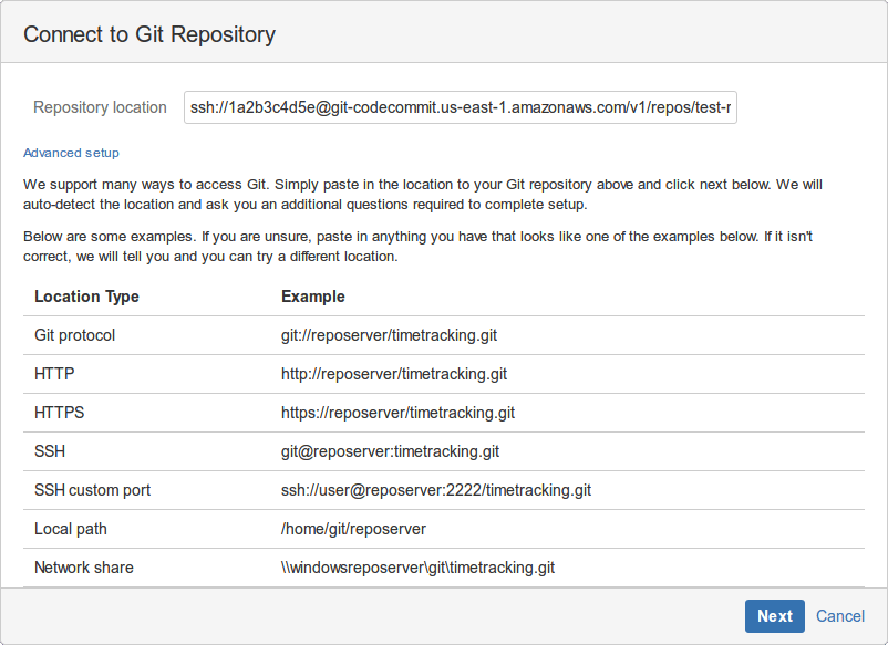 Connect to Git Repository screen - entering the modified URL in the Remote location field
