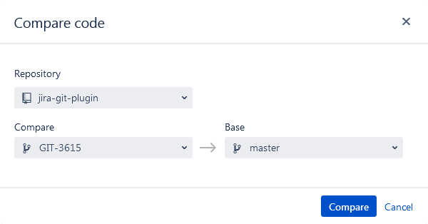 Jira Git Source Code panel - compare code