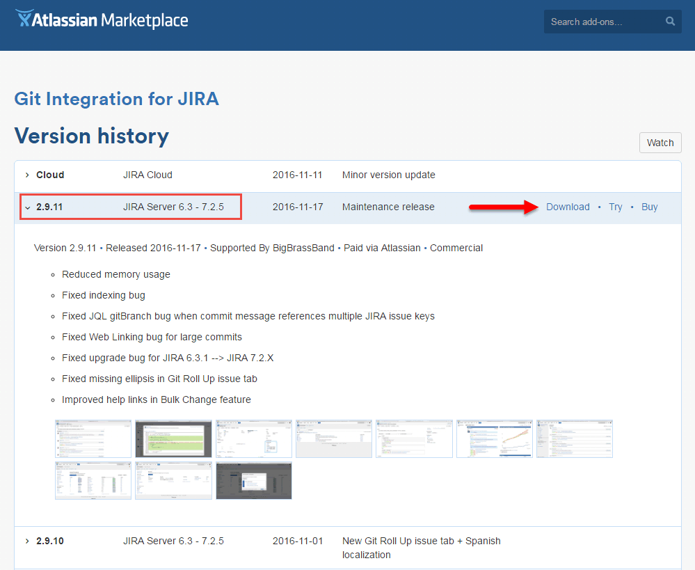 Git for JIRA add-on version history at the Atlassian Marketplace