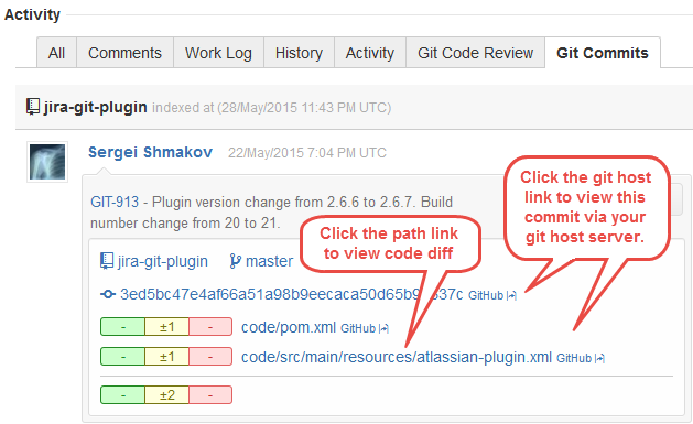 Clickable web links in Git Commits tab
