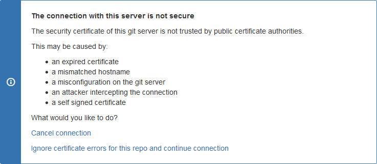 Git for JIRA repository connection set sslVerify to false screen
