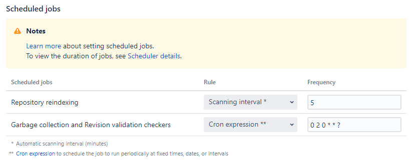 General Settings scheduled job settings