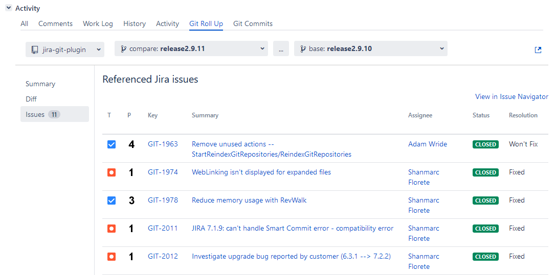 Git Roll Up tab: Issues page - showing unique Jira issues related to commits