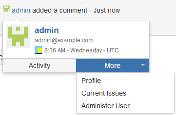 Jira user card example showing more dropdown options
