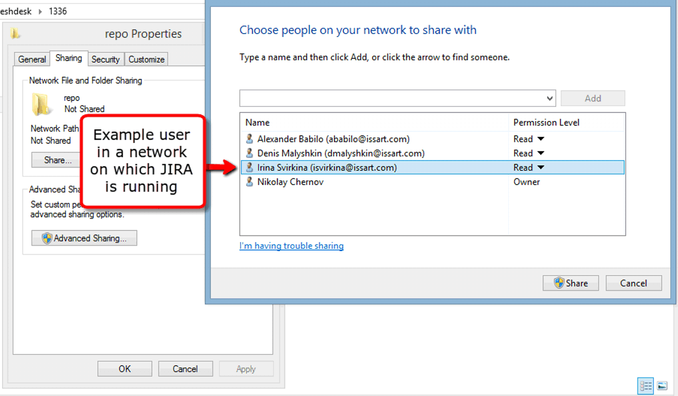 Windows network shared access permissions properties