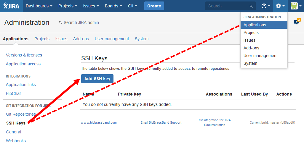 Git add-on upload SSH keys access