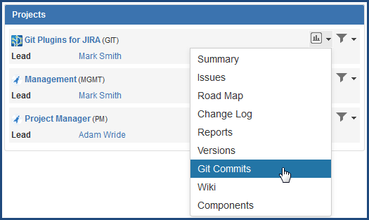View git commits via Jira Projects
