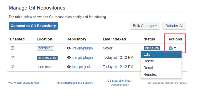 Git Repositories page Edit Reindex