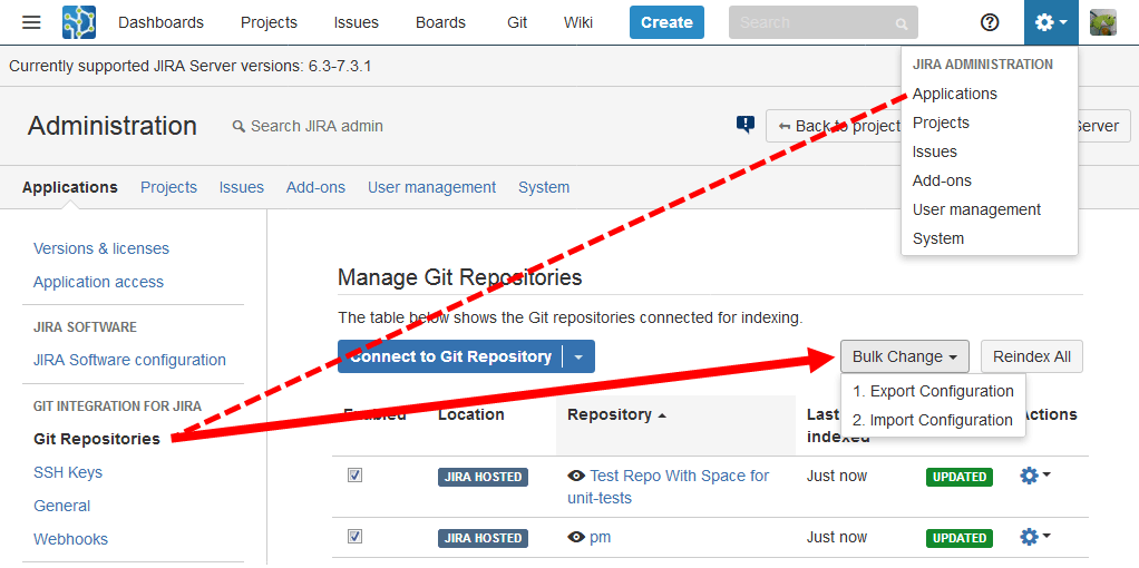 Accessing the bulk change feature from Jira administration - Repositories config page