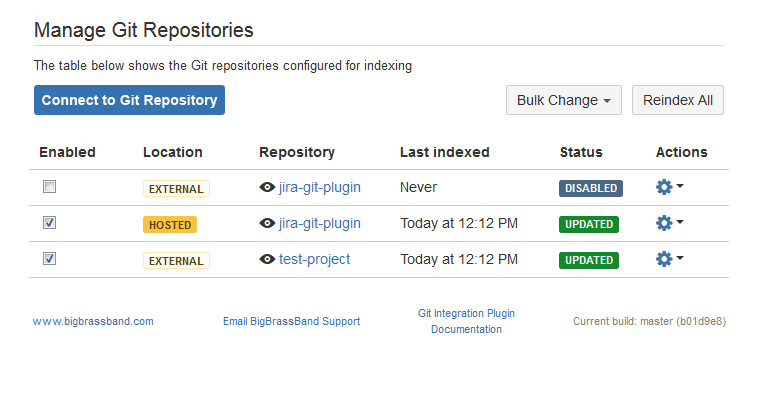 Git Repositories page Connect