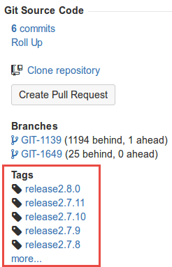 Git tags Jira panel