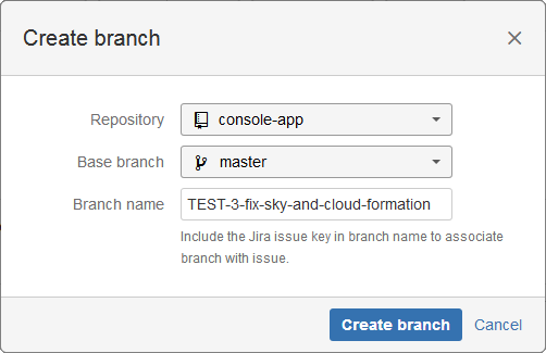 jira cloud tfs create branch dialog