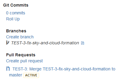 jira cloud tfs branch and pull request status on dev panel