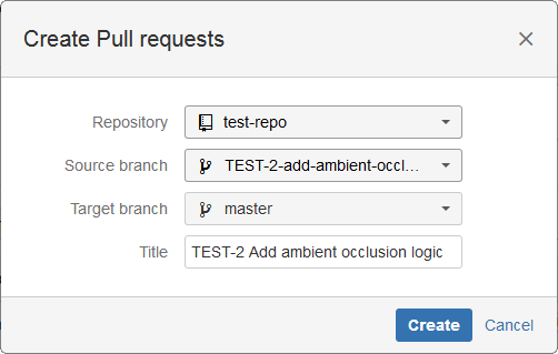 Jira issue page create pull request dialog