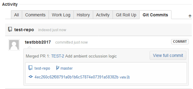 jira server issue page git commits tab view commit