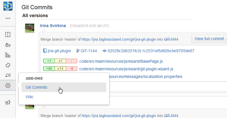 Project Git commits tab