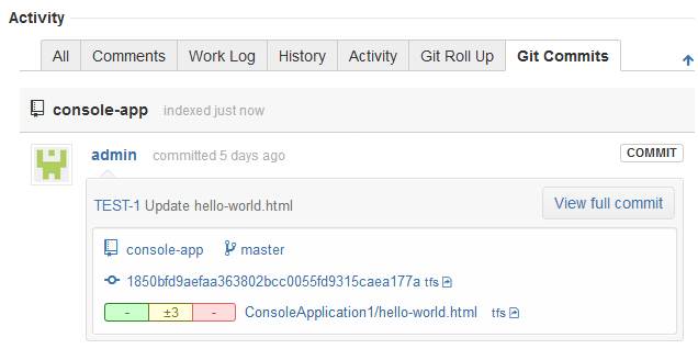 Jira issue page, git commits tab - showing git commits from TFS server