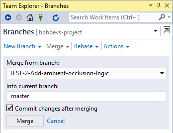 vs ide team explorer branch merge action