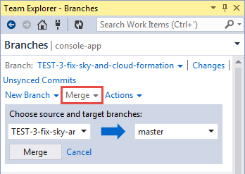 VS IDE team explorer merging branch to master