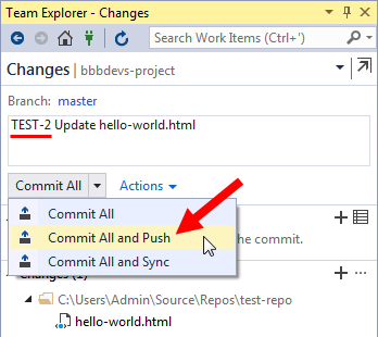 vs ide team explorer changes - commit and push