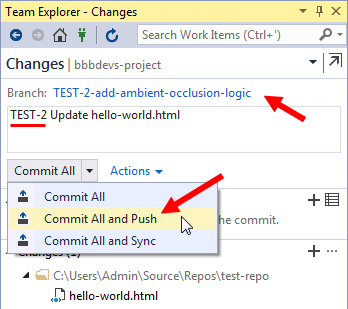 vs ide team explorer commit to selected branch