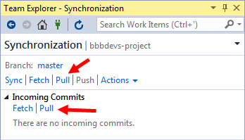 vs ide team explorer sync/changes perform pull